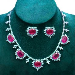 Handmade Topaz Ruby Necklace With Earrings