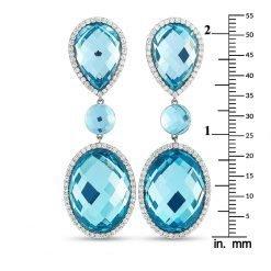 925 Sterling Silver Blue Topaz Earrings