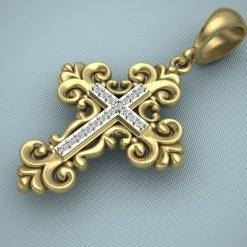 Designer Cross Pendant Studded With White Topaz