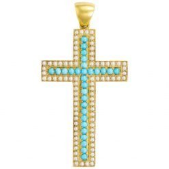 Turquoise And Pearl Studded Cross Silver Pendant