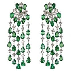 925 Sterling Silver Green Tourmaline And Zircons Studded Earrings