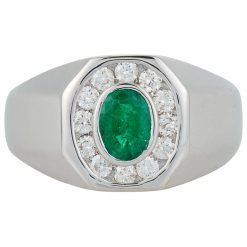 Oval Emerald Unisex Ring In Silver