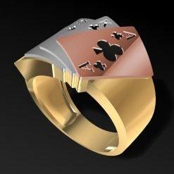 14K Solid Gold Poker Ring For Poker Lovers