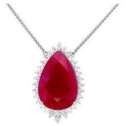 925 Sterling Silver Teardrop Ruby Pendant