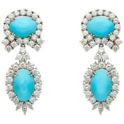 925 Sterling Silver Turquoise Earrings Studded With Zircons