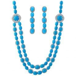 Turquoise Necklace Earrings Set In Silver