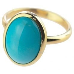 14k Gold Oval Turquoise Ring