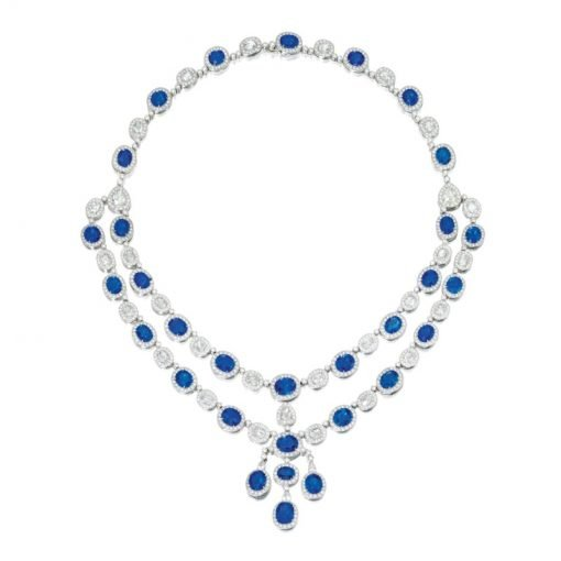 Premium Bridal Blue Sapphire Necklace in Sterling Silver