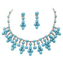 Turquoise Bridal Necklace With Earrings