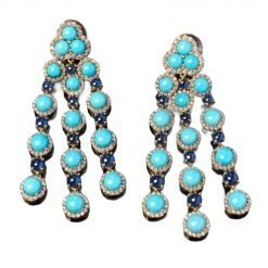 Turquoise Blue Sapphire Earrings in Sterling Silver