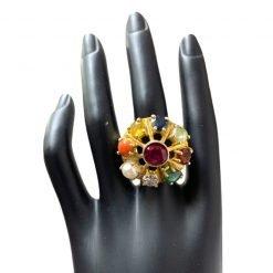 Sterling Silver Very Big Sized Navratna Ring For Men