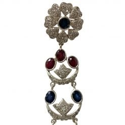 3.5 Inches Long Ruby Sapphire Earrings in Sterling Silver