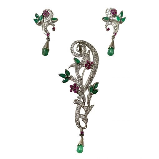 Ruby Emerald Pendant made with 925 Sterling Silver