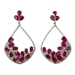 Fine Quality Ruby Earrings Made with Sterling Silver