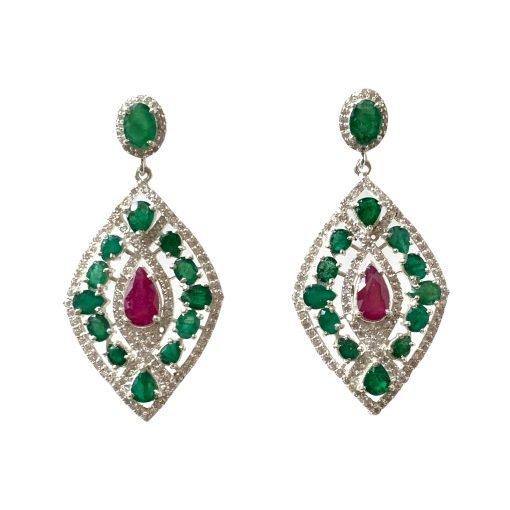 Designer Ruby Emerald Earrings in Sterling Silver
