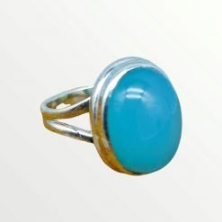 925 Sterling Silver Natural Aqua Chalcedony Gemstone Ring