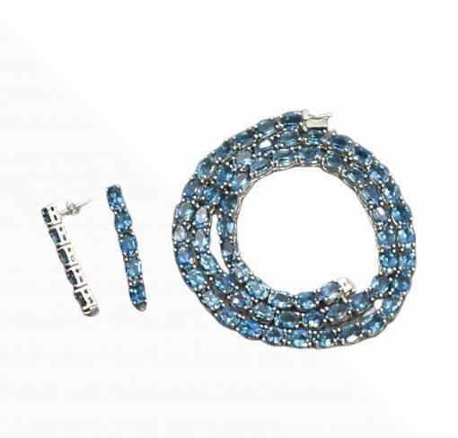 925 Sterling Silver Blue Topaz Necklace Earrings Set