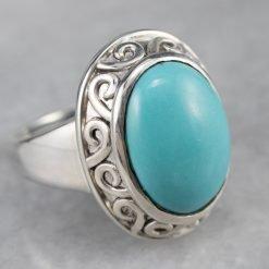 925 Sterling Silver Designer Turquoise Ring