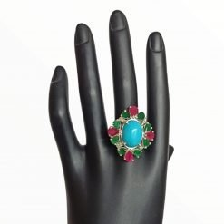 925 Sterling Silver Turquoise Emerald And Ruby Ring