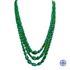3 Strands Emerald Beads Necklace