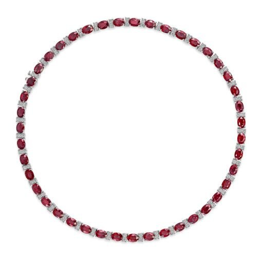 Fine Quality White Topaz and Ruby Tennis Necklace