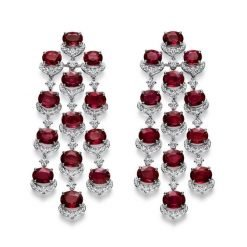 Deep Red Ruby Long Earrings made with 925 Silver
